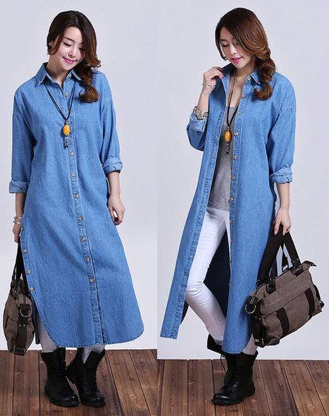 Light blue loose denim jacket / windbreaker Long shirt | Ladies Fashion | Scoop.it