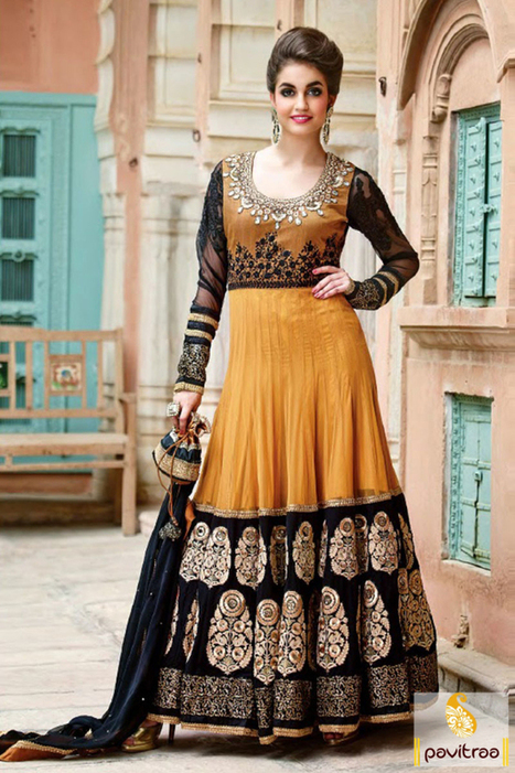Gold Black Embroidery Anarkali Salwar Suit   Pavitraa   Scoop.it