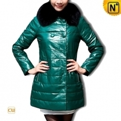 Women Leather Down Coat Green CW610033 | Fur Trimmed Coats | Scoop.it