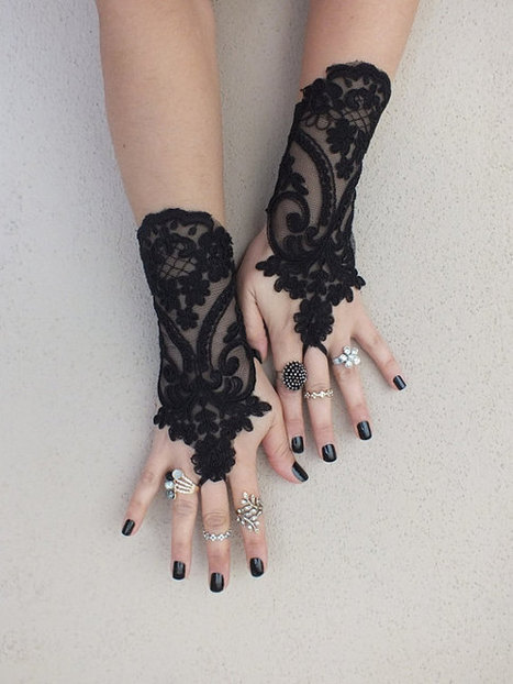 Black lace gloves french lace bridal gloves, ''High Quality Lace Gloves'' fingerless gloves black gloves burlesque  glove guantes free ship | wedding gloves | Scoop.it