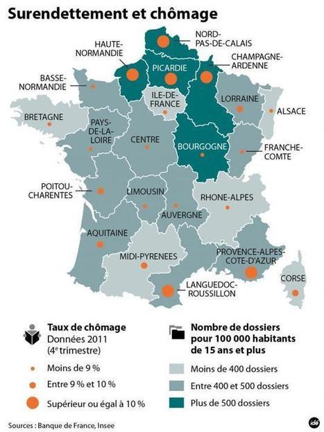 Infographie du jour : la carte du surendettement et du chômage en France | JOIN SCOOP.IT AND FOLLOW ME ON SCOOP.IT | Scoop.it