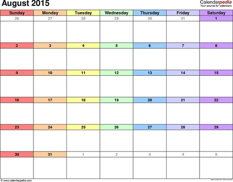 {[Free}* August 2015 Printable Calendar Template Word, Excel & PDF | Shilpa Timeline | Scoop.it