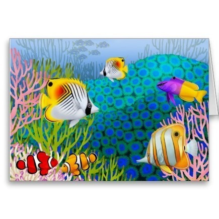 Colorful Caribbean Coral Reef Card from Zazzle.com   Artistic Greeting Cards   Scoop.it