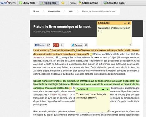 Des outils pour annoter le web (I) : WebNotes et Scrible   SoBookOnline   François MAGNAN  Formateur Consultant   Scoop.it