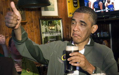 Obama thumbs up with a pint