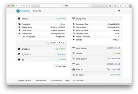 Syncthing: un dropbox like basé sur le peer to peer, sécurisé, chiffré et sur toutes les plateformes | le manchot rôti | Scoop.it