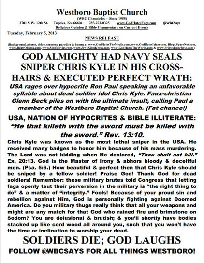 Evil Westboro Baptist Church Says American Sniper Chris Kyle Was in God's Cross-Hairs&Executed By His Wrath | Littlebytesnews Current Events | Scoop.it