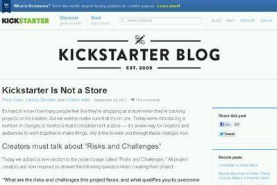 Oprichters: Kickstarter is geen winkel   Werkzaamheden in de biebliotheek   Scoop.it