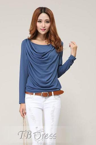 $ 9.79 Attractive Slim Drape Long Sleeves Large Size T-shirt | Mito | Scoop.it