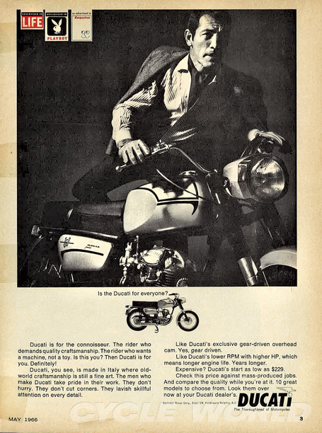 Vintage Ducati Motorcycles Magazine Ad- Is the Ducati for Everyone? | Cycle World | Desmopro News | Scoop.it