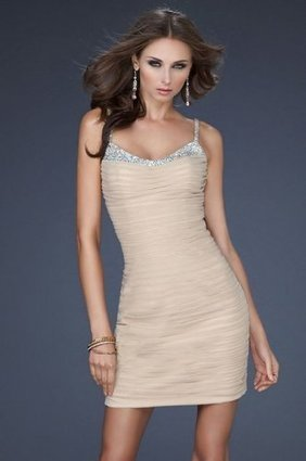 Pleated Nude Sequin Figure-hugging Cocktail Dress [Nude short prom dresses 2013] - $150.90 : www.thedresses2014.com | prom dresses | Scoop.it