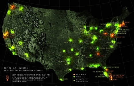 A Map of the Top 50 Markets for Efficient Lightbulb Sales Across the U.S. | green infographics | Scoop.it