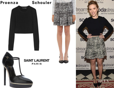 Scarlett Johansson's Proenza Schouler Cropped Ponte Sweater, Proenza Schouler Tweed Chiffon Flare Skirt And Saint Laurent 'Janis' T-Bar Strap Sandals | women's fashion and beautiful pic | Scoop.it