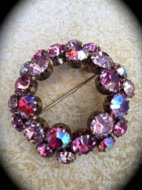 Pink aurora borealis rhinestone brooch   Vintage Jewelry   Scoop.it