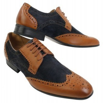 Mens Italian Leather & Suede Navy Tan Brown Classic Brogue Shoes Smart Casual | Mens clothing | Scoop.it