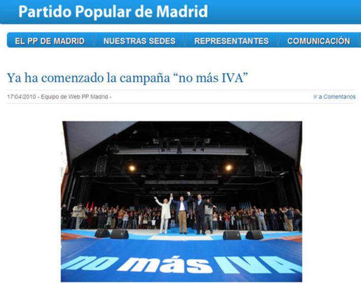 El PP de Madrid mantiene en su página web la campaña contra el IVA de 2010 |  Cadena SER | Partido Popular, una visión crítica | Scoop.it