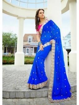 Buy Online Vikruti Royal Blue Chiffon Saree DN.23395 at Best Price | Online Shopping | Scoop.it