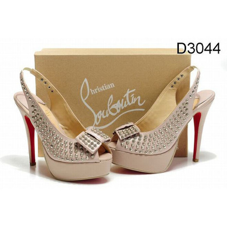 Pink Christian Louboutin Clou Noeud 150mm Studded Slingbacks Red Sole Shoes | new and fashion list | Scoop.it