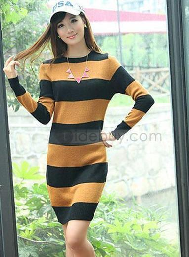 New Slim Assorted Colors Round Neckline Knit All-Matched Sweater Dresses | sexy girl | Scoop.it
