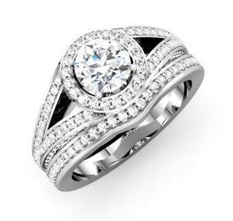 ROUND DIAMOND SPLIT SHANK SEMI-MOUNT BRIDAL SET | Wedding Ring | Scoop.it