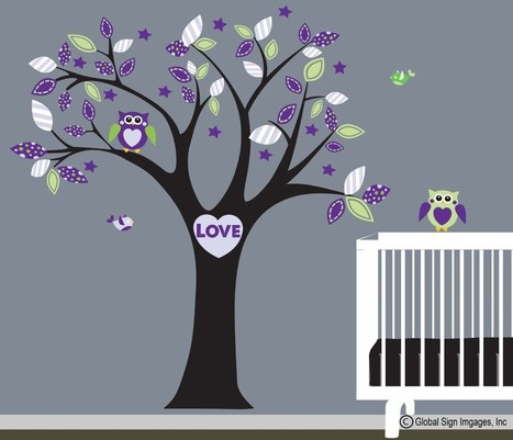 Removeable Vinyl Graphics For Your Home, Office, and Car | Roommates Nursery Tree purple Leaves love owl birds wall Decal - Girl's Room - PICK A ROOM Decorate Your Life! | Social | Scoop.it