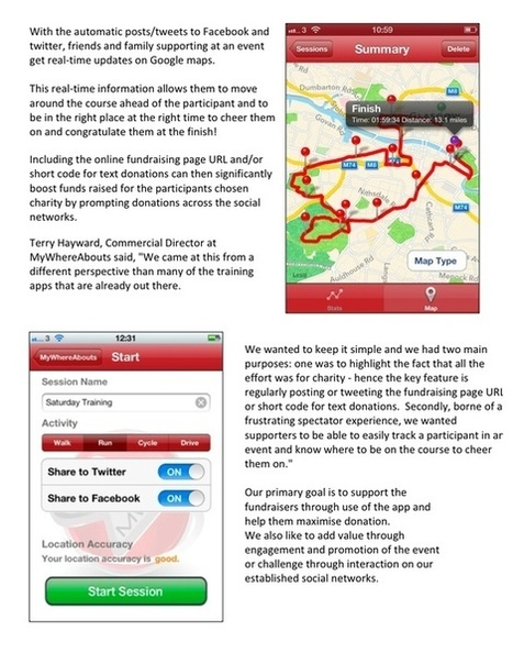 MyWhereAbouts GPS Charity Fundraising App Running, Walking, Cycling (iPhone & Android) | Bridging the Gap with MyWhereAbouts Charity App | Scoop.it
