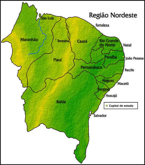 Mapa da região Nordeste brasileira | Recursos, materiais e pesquisa para o 3º Ano EM (Desenvolvimento desigual e questões regionais) | Scoop.it