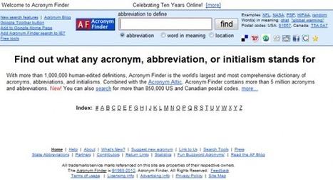 AcronymFinder : moteur de recherche d'acronymes | Veille_Curation_tendances | Scoop.it