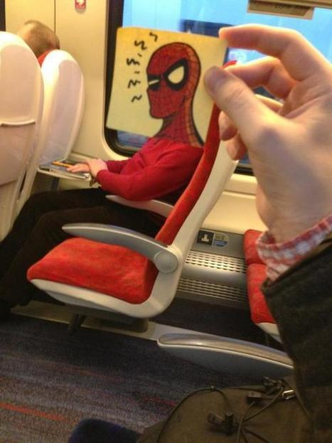 This Guy made his Train ride Funny and enjoyable with Post-it Notes, these Literally makes you LOL - News Idiots | trends and health | Scoop.it