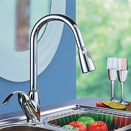 Single Handle Pull Out Sprayer Mixer Tap of Solid Brass Chrome Finish Deck Mounted Kitchen Faucet -- Faucetsmall.com | Bathroom Sink Faucets & Kitchen Faucets | Scoop.it