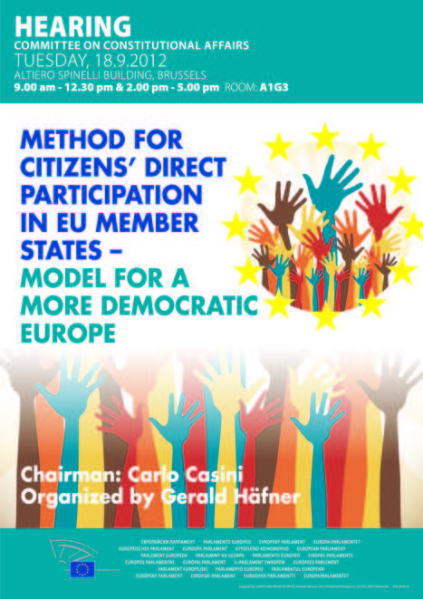 Hearing: Method for citizens' direct participation in EU Member States - Model for a more democratic Europe   eParticipate!   Scoop.it