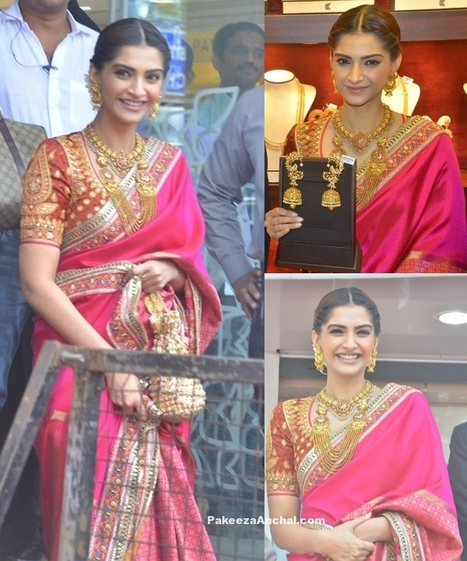Sonam Kapoor in Abu Jani Sandeep Khosla in Pink Silk Saree | Indian Fashion Updates | Scoop.it