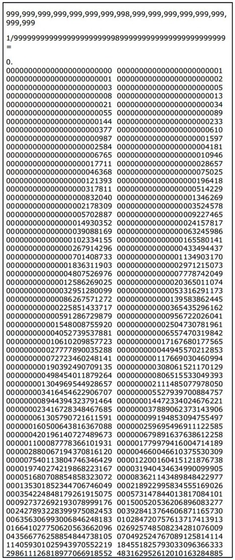Dividing 1 by This Big Number Gives You the Fibonacci Sequence. Why? | Strange days indeed... | Scoop.it