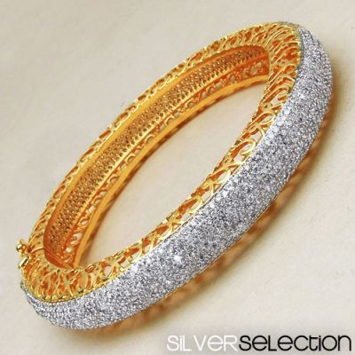 36.30 Grams White Cubic Zirconia Gold Plated Bangle   Online Jewellery Shopping in India   Scoop.it
