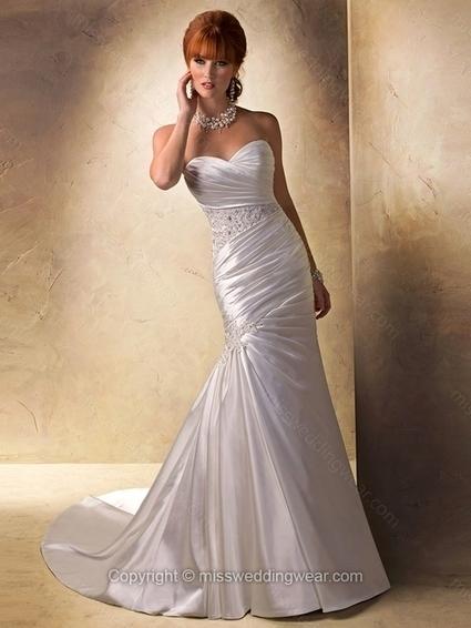 Trumpet/Mermaid Sweetheart Elastic Woven Satin Court Train Ruffles Wedding Dresses   2014 wedding dress online   Scoop.it