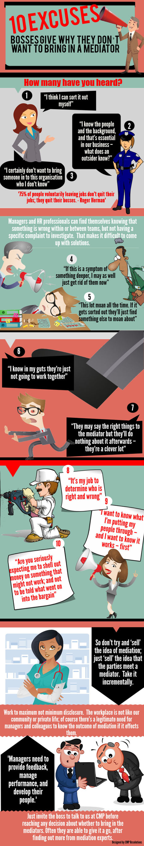 Infographic: 10 excuses bosses give not to bring in a mediator | Mediation | Scoop.it