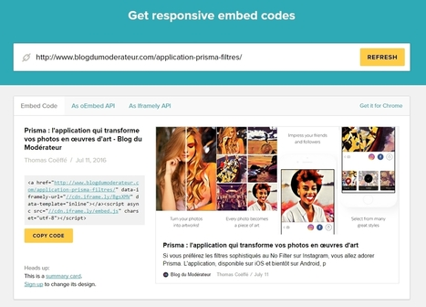 Iframely : générer un code Embed responsive pour n'importe quelle page web - Blog du Modérateur | Digital Social Club | Scoop.it