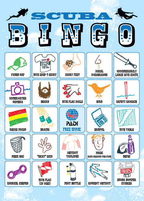 Scuba Bingo Card - Padi | ScubaObsessed | DiverSync | Scoop.it