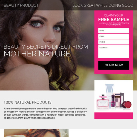 beauty product free sample claiming landing page design | best landing page design | Scoop.it