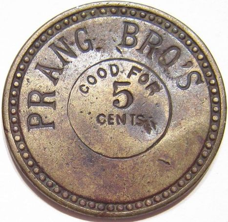 1886-1890's PRANG BRO'S Saloon ? STRAUB MAKER IND. Incuse Maverick 5 Cents Token | Coins Tokens & Medals | Scoop.it