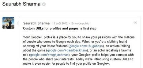 Les URLs personnalisables arrivent sur Google + | Social Media and Web Marketing : The necessary tools | Scoop.it