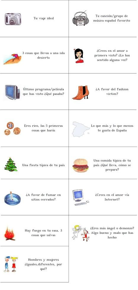 Recurso para profesores de español: Fichas para hablar en clase I | Orientar en Extremadura | Scoop.it