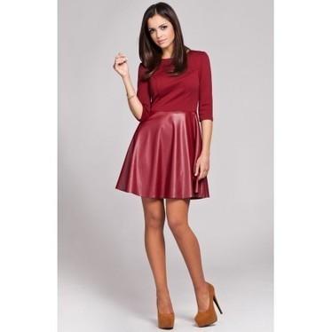 Robe bi-matière avec jupe en simili cuir, bordeaux. | Mode et style | Scoop.it