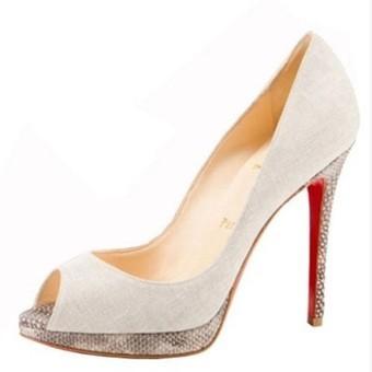 Sale red bottom heels-christian louboutin Yolanda 120mm pumps beige canvas | Sale Red Bottom Heels | Scoop.it