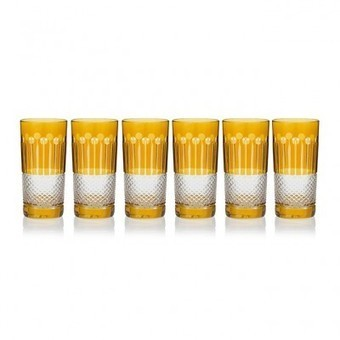 Amber Gold High Ball glasses, set of 6 | Coloured Crystal | Scoop.it