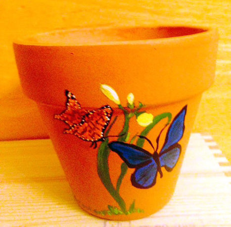 Butterflies Pollinating a Flower Hand Painted on 4.5 Inch Terra Cotta Red Clay Flower Pot Made to Order | Antiques n' Oldies | Scoop.it