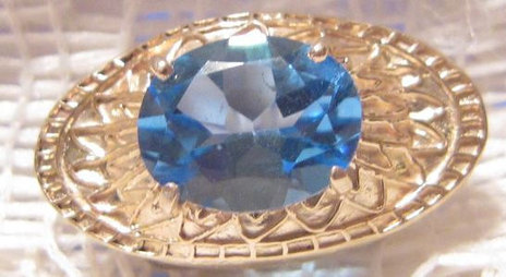 Vintage  14 KT Gold Slider with Blue Topaz Multi-Faceted Stone | Fabulous Vintage Jewelry | Scoop.it