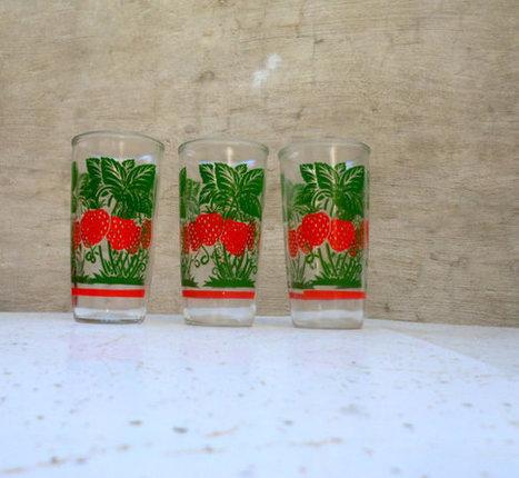 Vintage Stawberry Glasses   Mid Century   Scoop.it