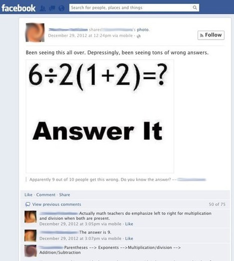 If Math Is Universal, Why Can't It Answer a Stupid Facebook Problem?   enjoy yourself   Scoop.it