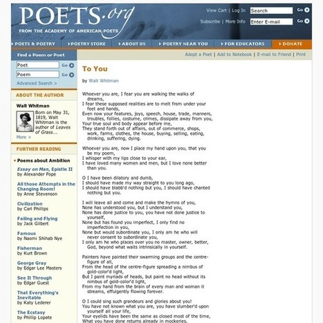 To You- Poets.org - Poetry, Poems, Bios & More | Ray's Book Stuff | Scoop.it